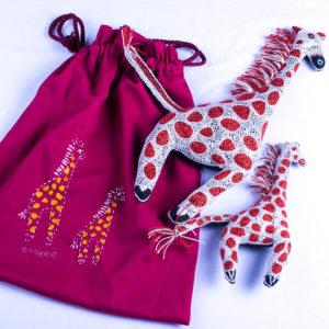 Giraffe & baby in a bag