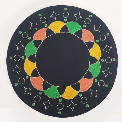 Circular Placemat Dotted Star Pattern